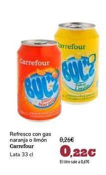 Oferta de Refresco con gas naranja o limón Carrefour por 0,22€