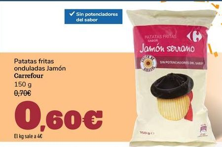 Oferta de Patatas fritas onduladas Jamón Carrefour por 0,6€