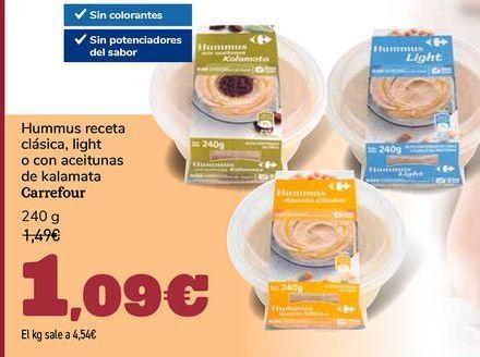 Oferta de Hummus receta clásica, light o con aceitunas de kalamata Carrefour por 1,09€