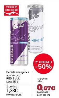 Oferta de Bebida energética acaí o coco RED BULL por 1,33€