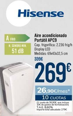 Oferta de Hisense Aire acondicionado Portátil APC9 por 269€