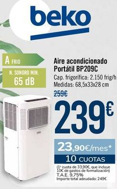 Oferta de Beko Aire acondicionado Portátil BP209C por 239€
