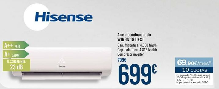 Oferta de Hisense Aire acondicionado WINGS 18 UEXT por 699€