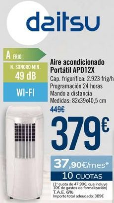 Oferta de Daitsu Aire acondicionado Portátil APD12X por 379€