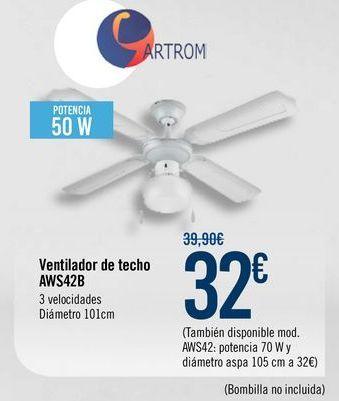 Oferta de Ventilador de techo AWS42B por 32€