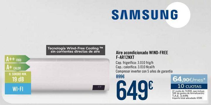 Oferta de SAMSUNG Aire acondicionado WIND-FREE F-AR12NXT por 649€
