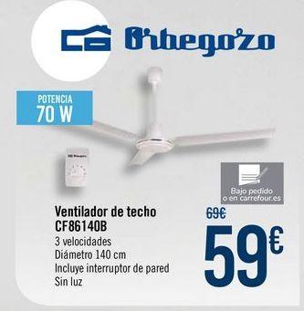 Oferta de Orbegozo Ventilador de techo CF86140B por 59€