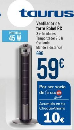 Oferta de Taurus Ventilador de torre Babel RC por 59€