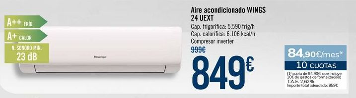 Oferta de Aire acondicionado WINGS 24 UEXT por 849€