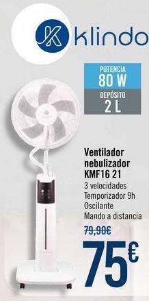 Oferta de Klindo Ventilador nebulizador KMF16 21 por 75€