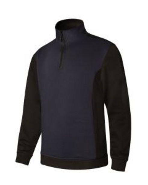 Oferta de Sudadera trabajo media cremallera xxl 65%poliester 35%algodón azul navy/negro p1 por 14,46€