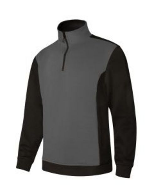 Oferta de Sudadera trabajo media cremallera xl 65%poliester 35%algodón gris/negro p105703 por 14,46€