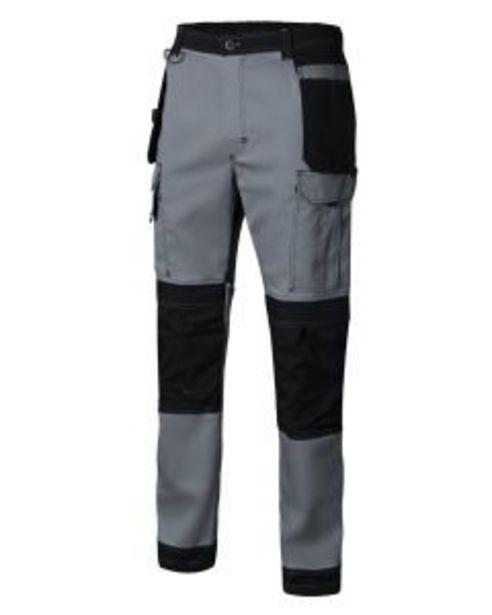 Oferta de Pantalon trabajo multibolsillos con refuerzo xxl 98%algodón 2%elastano gris/negr por 30,19€