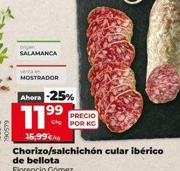 Oferta de Chorizo/salchichón cular ibérico de bellota Florencio Gómez por 11,99€