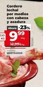 Oferta de Cordero lechal por medios con cabeza y asadura  por 9,99€