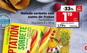 Oferta de Helados sorbete con zumo de fruras por 1,19€