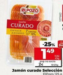 Oferta de Jamón curado selección  elpozo por 1,49€