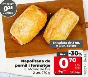 Oferta de Napolitanas de jamón y queso  por 0,7€