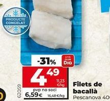 Oferta de Filetes de bacalao Pescanova por 4,49€