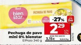 Oferta de Pechuga de pavo mini 0%bienestar  por 2,29€