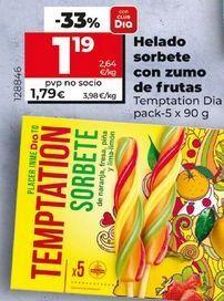 Oferta de Helados sorbete con zumo de frutas por 1,19€