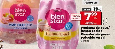 Oferta de Pechuga de pavo/jamón cocido Bienestar sin grasa reducido en sal  elpozo por 7,99€