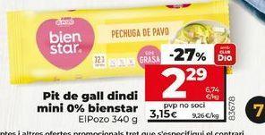 Oferta de Pechuga de pavo mini 0% bienestar elpozo por 2,29€