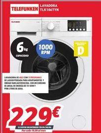 Oferta de Lavadoras Telefunken por 229€