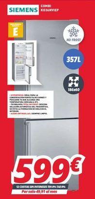Oferta de Frigorífico combi Siemens por 599€