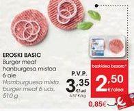 Oferta de EROSKI BASIC Hamburguesa mixta burger meat por 2,5€