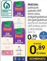 Oferta de PASCUAL Leche sin lactosa UHT Entera, semi y desnatada  por 0,95€