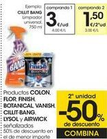 Oferta de Productos COLON, FLOR, FINISH, BOTANICAL, VANISH, CILLIT BANG, LYSOL y AIRWICK señalizados  por 3€