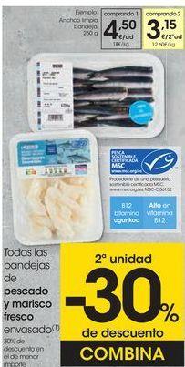 Oferta de Todas las bandejas de pescado y marisco fresco envasado  por