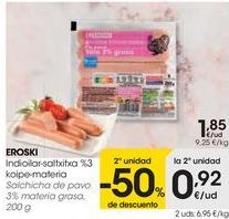 Oferta de EROSKI Salchichas de pavo 3% materia grasa  por 1,85€