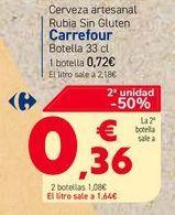 Oferta de Cerveza artesanal Rubia Sin Gluten Carrefour Botella 33 cl por 0,72€