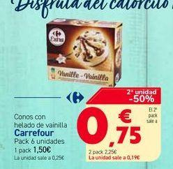 Oferta de Conos con helado de vainilla Carrefour Pack 6 unidades por 1,5€