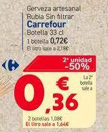 Oferta de Cerveza artesanal Rubia Sin filtrar Carrefour Botella 33 cl por 0,72€