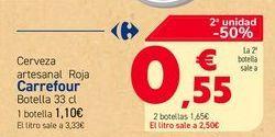 Oferta de Cerveza artesanal Roja Carrefour Botella 33 cl por 1,1€
