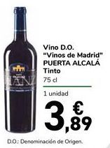 "Oferta de Vino D.O. ""Vinos de Madrid"" PUERTA ALCALÁ Tinto por 3,89€"