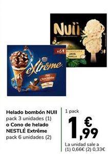 Oferta de Helado bombón NUII o Cono de helado NESTLÉ Extréme por 1,99€