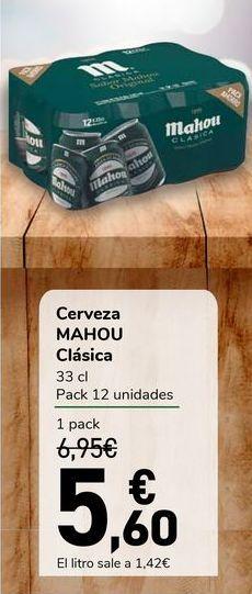 Oferta de Cerveza MAHOU Clásica por 5,6€