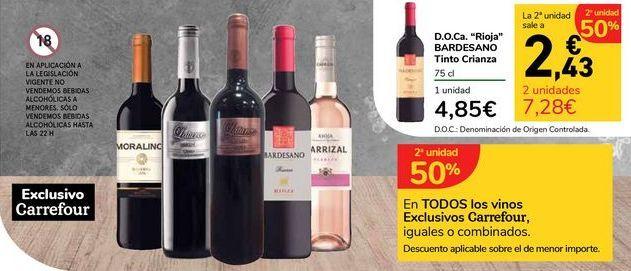 Oferta de En TODOS los vinos Exclusivos Carrefour por