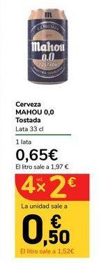 Oferta de Cerveza MAHOU 0,0 Tostada por 0,65€