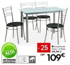Oferta de Conjunto mesa y sillas por 109€