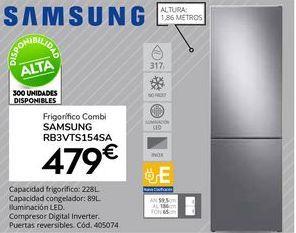 Oferta de Frigorífico combi Samsung por 479€