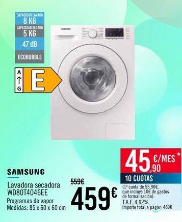 Oferta de SAMSUNG Lavadora secadora WD80T4046EE por 459€