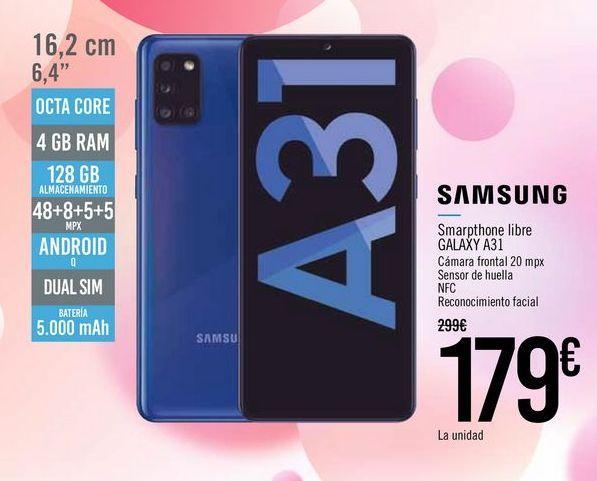 Oferta de SAMSUNG Smartphone libre GALAXY A31 por 179€