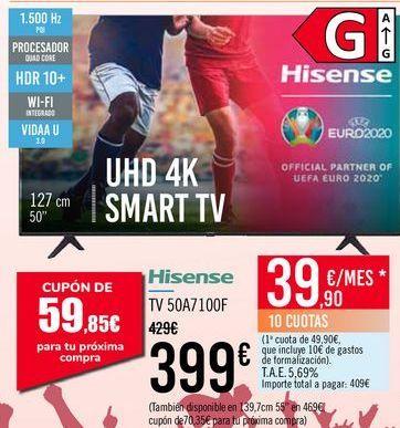 Oferta de Hisense TV 50A7100F por 399€