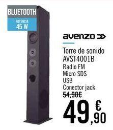 Oferta de AVENZO Torre de sonido AVST4001B por 49,9€