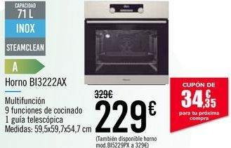 Oferta de Horno BI3222AX por 229€